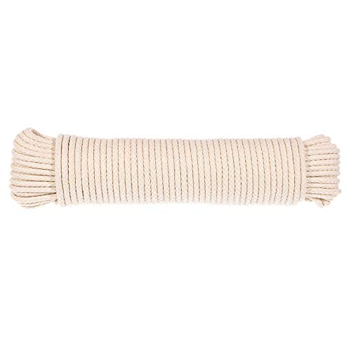 Scottie Cord - Natural Scottie Cotton Braided Clothes Line Rope - (3/16 Inch) - Cotton Rope Clothesline - All Purpose Laundry Line Dryer Rope (100 Feet)