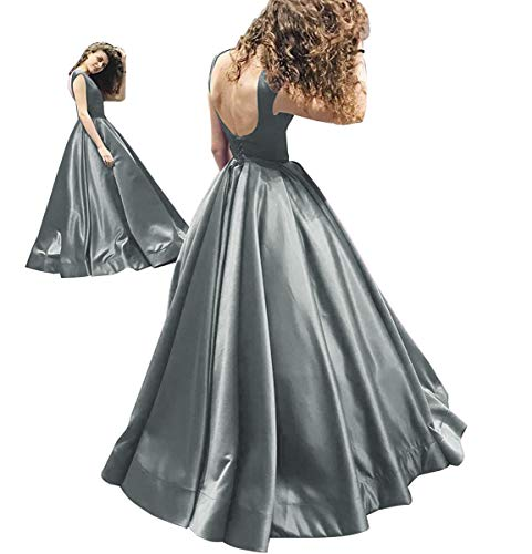Satin Backless Evening Silver Gown Prom Dress Romantic GMAR Dresses Ruched Ball Long xXOU4qw