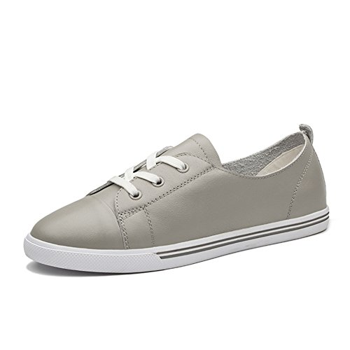 GIY Women Fashion Low Top Lace-up Sneakers Flat Cosy Casual Outdoor Sports Shoes Grey sOWGj