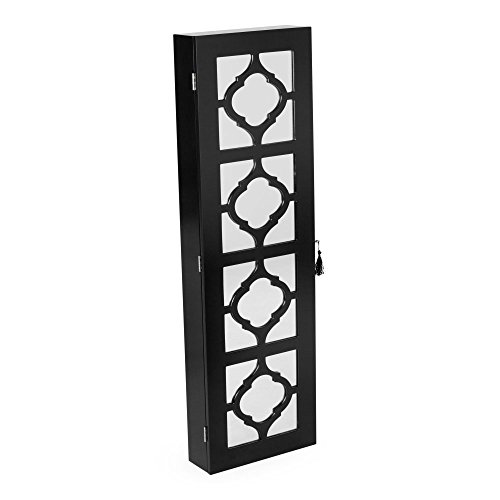 affordable Belham Living Lighted Locking Quatrefoil Wall Mount Jewelry Armoire