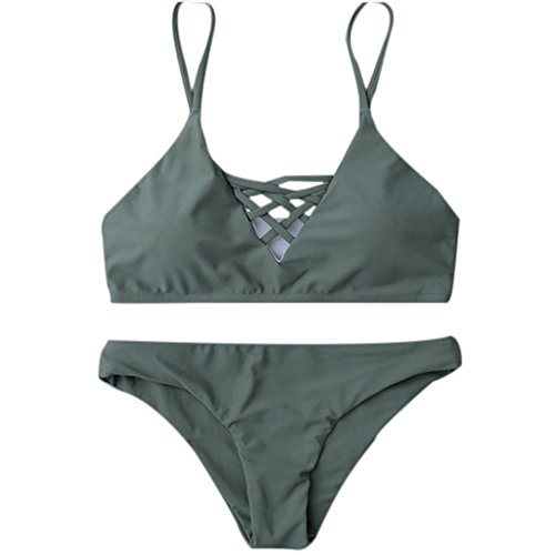 SKY Bling Bling !!! Mujeres La Sra correa de espalda escotada del traje de baño de dos piezas Bandage Push-Up Swimsuit Bathing Beachwear armygreen
