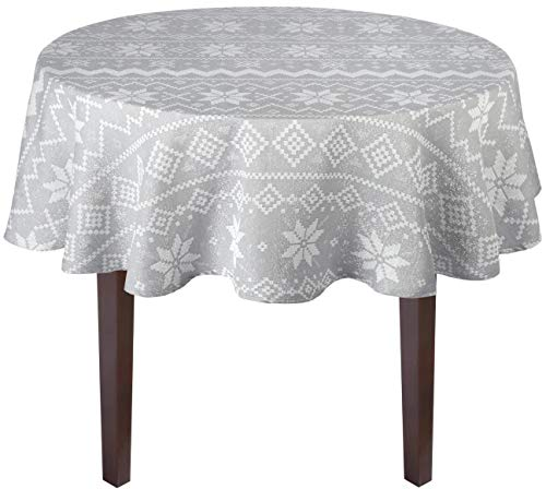 Nantucket Home Country Holiday Shimmer Gray Snowflake Winter Christmas Jacquard Cotton Fabric Tablecloth (60