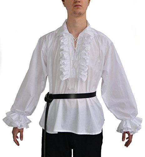 Rüschenhemd baumwollhemd gothique-chemise larp xL (blanc)
