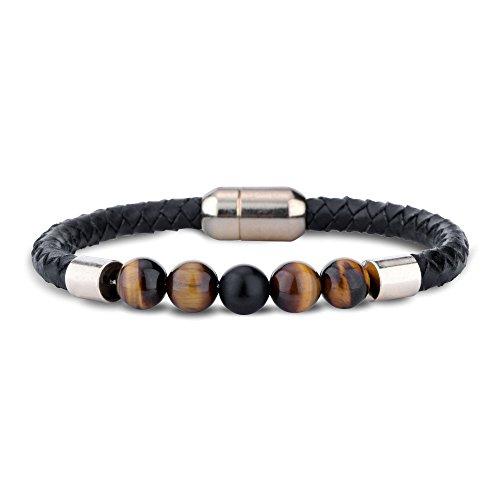 Natural Stone Bracelet (Lava Rock 7 Chakras Bracelet Enjoit Genuine Leather Rope Bangle with Tiger Eye Natural Stone Bracelets for Men Women)