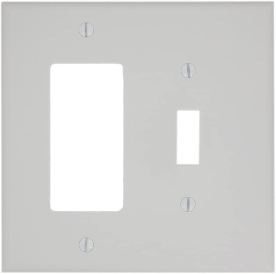 Leviton PJ126-W 2-Gang 1-Toggle 1-Decora/GFCI Combination Wallplate, Midway Size, White