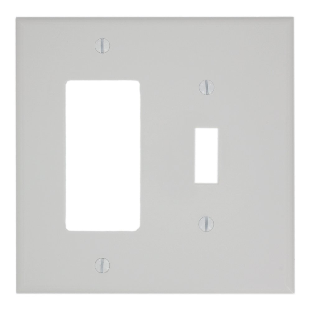 Leviton PJ126-W 2-Gang 1-Toggle 1-Decora/GFCI Combination Wallplate, Midway Size, White