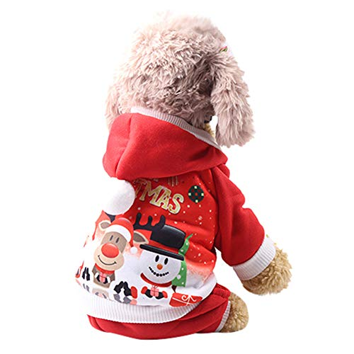 Euone  Pet Clothes Clearance , Dogs Christmas Printed Coats Puppy Hoodied Sweatshirts Dog Clothes Costume (L, Red) ()