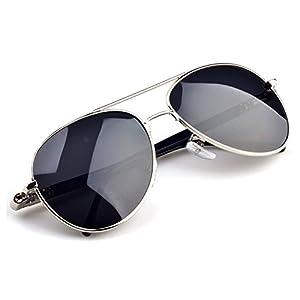 Sepver Aviator Optical Glasses Metal Frames Sunglasses for Men Women Polarized Lens Mirror Eyewear Anti UV 400 (Silver)