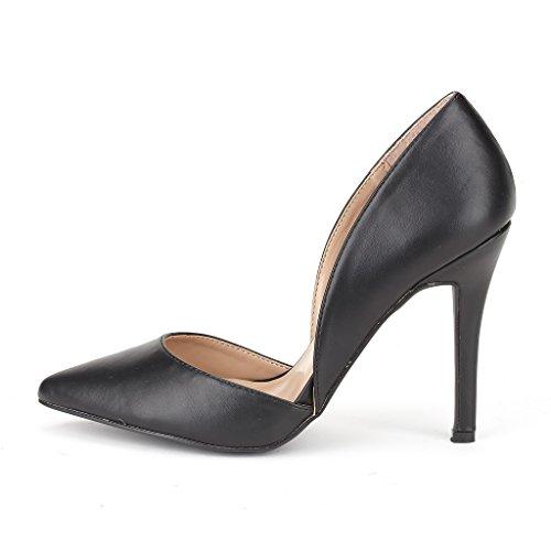 DREAM PAIRS Women's Dolce Black Pu Fashion Stilettos Open Toe Pump Heel Sandals Size 5 B(M) US