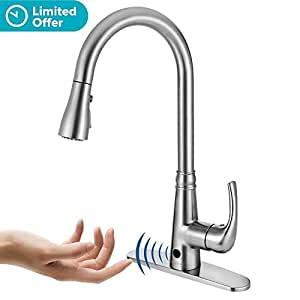 Motion Sensor Kitchen Faucet With Sprayer Brushed Nickel No Touch Touchless Faucets Stainless