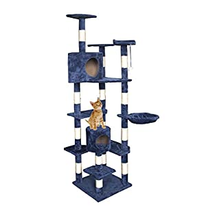 "New Cat Tree 80"" Condo Furniture Scratching Post Pet Cat Kitten House T72 BEST SELLER! (Navy Blue)"