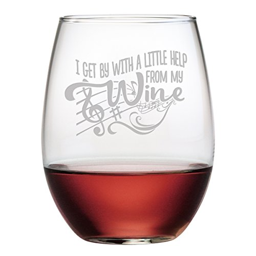 Fineware I Get By With A Little Help From My Wine - 15 oz Stemless Etched Wine Glass - Gift for (Beatles Glasses)
