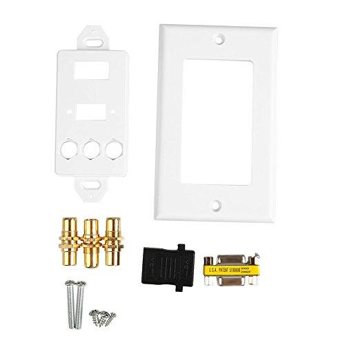 Hanbaili HDMI VGA 3RCA AV Composite Audio Video HDTV Wall Face Plate Panel Socket Outlet ()