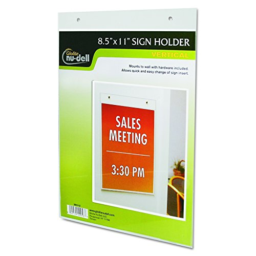 NuDell 38011Z Clear Plastic Sign Holder, Wall Mount, 8 1/2 x 11