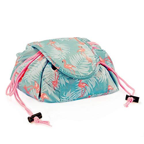 Zyaner Creative Drawstring Lazy Makeup Storage Bag Portable Waterproof Exquisite Fashion Ladies Cosmetic Bag (Flamingo)