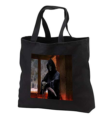 Sandy Mertens Halloween Designs - Grim Reaper the Spirit of Death is Waiting Inside, 3drsmm - Tote Bags - Black Tote Bag JUMBO 20w x 15h x 5d (tb_290222_3)