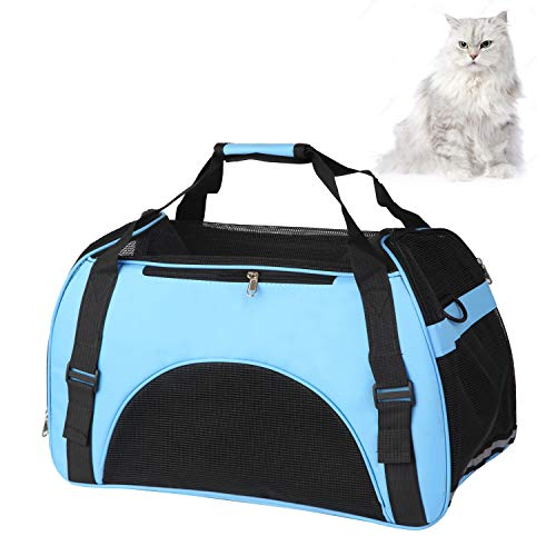 perfrom Pet Carrier with Sleeping Mat, Airline Approved Soft Sided Pet Travel Carrying Handbag for Small Dogs Cats, Breathable 4-Windows Design (Blue)