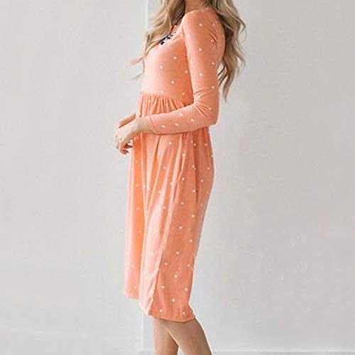 JESPER Women Swing Casual Dot Printing Round Neck Dress Long Sleeve Evening Party Dress Orange by JESPER (Image #3)