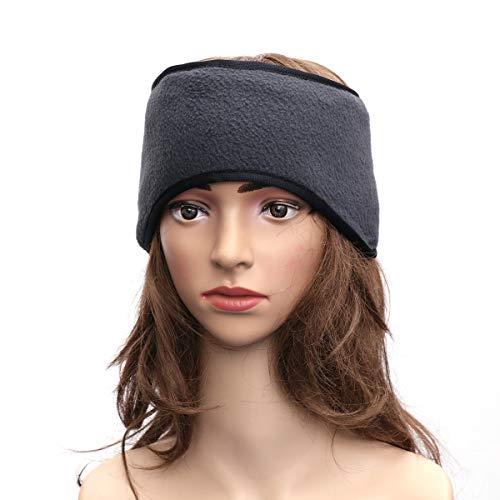 (LIOOBO Unisex Double Layer Ear Warmer Headband Fleece Warm Adjustable Earband Earmuffs Protector for Men Women Dark Gray)