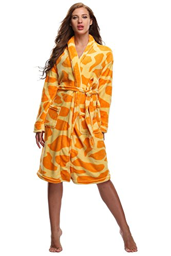 Women's Fleece Bathrobe Plush Spa Robe Warm Soft Velvet Nightgown Cozy Sleepwear Comfy Nightwear, Giraffe L