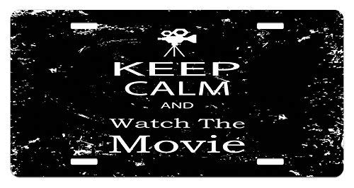Fabri.YWL Keep Calm License Plate, Watch The Movie Quote for Film Buffs Grungy Weathered Backdrop with Old Camera, High Gloss Aluminum Novelty Plate, 6 X 12 Inches.