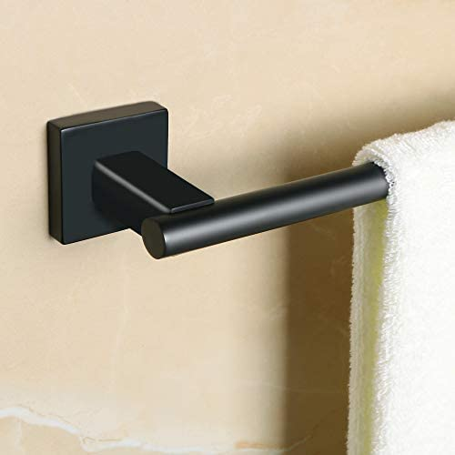 Sayayo Wall-Mounted Bath Towel Rail Bar, 40 cm / 16 Inches, SUS-304 Stainless Steel Matte Black Finish, EGYT4068-B