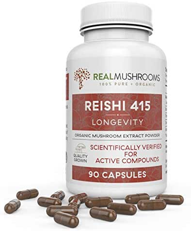 Organic Reishi Mushroom Extract by Real Mushrooms - 90 Capsules - Ganoderma Lucidum/Ling Zhi - Immune Booster