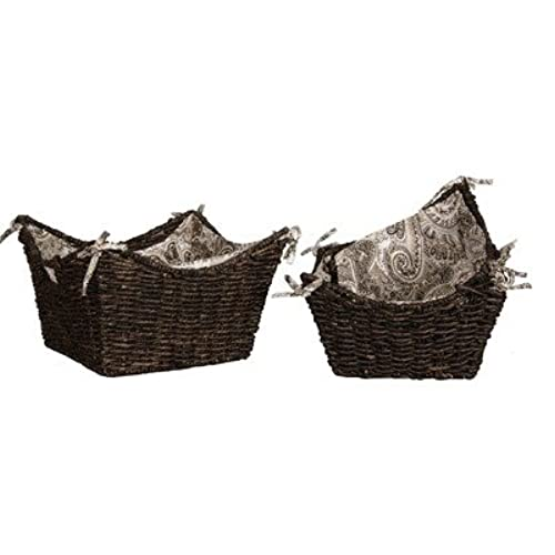 Lamont Home Brookwood Maize 3 Piece Scoop Basket Set With Removable Paisley  Fabric Liner, Medium Coffee