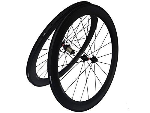 フルカーボンマットロードバイク自転車クリンチャーホイールセット 60mm リム幅:25mm   B00N2RH4XO
