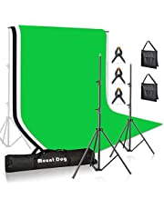 MountDog Photography Backdrop Stand 10ft Adjustable Photo Backdrop Stand System Support Kit with 3 Backdrops