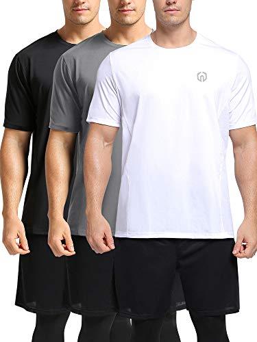 Neleus Men's Dry Fit Athletic Performance Shirt,3 Pack,Black/Grey/White,M,EU L