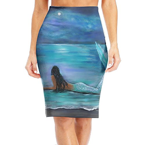- Mermaid, Moon and Stars Painting by Leslie Allen More Women's Fashion Printed Pencil Skirt