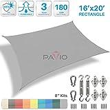Patio Paradise 16' x 20' Sun Shade Sail with 8 inch Hardware Kit, Light Grey Rectangle Canopy Durable Shade Fabric Outdoor UV Shelter Cover - 3 Year Warranty - Custom