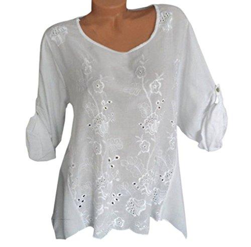Fashion et Casual Chemisiers JackenLOVE Tee Longues Blouse Automne Broderie Blanc Col Manches Shirts Femmes Printemps Tops Hauts pissure Rond 8X85qFn