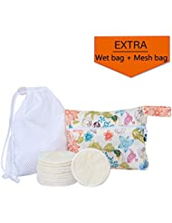 12Pcs Reusable Makeup Remover Pads with 2 EXTRA Bags(Laundry and Storage Bag), Bamboo Organic Cotton Rounds for Face, Super Soft and Absorption Wash Cloth Pads by Teamoy