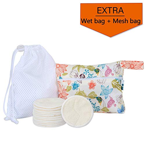 (12Pcs Reusable Makeup Remover Pads with 2 EXTRA Bags(Laundry and Storage Bag), Bamboo Organic Rounds for Face, Super Soft and Absorption Wash Cloth Pads by Teamoy )