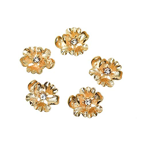 Monrocco 20 Pack Gold Metal Flatback Flower Rhinestone Button Embellishments for Crafts ()