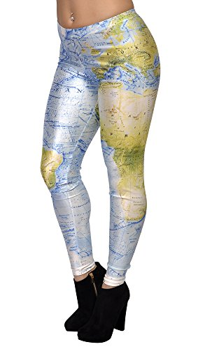 BadAssLeggings Women's Blue And Green Earth Map Leggings
