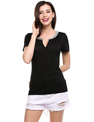 Meaneor Casual Sequins Sleeve T shirt product image