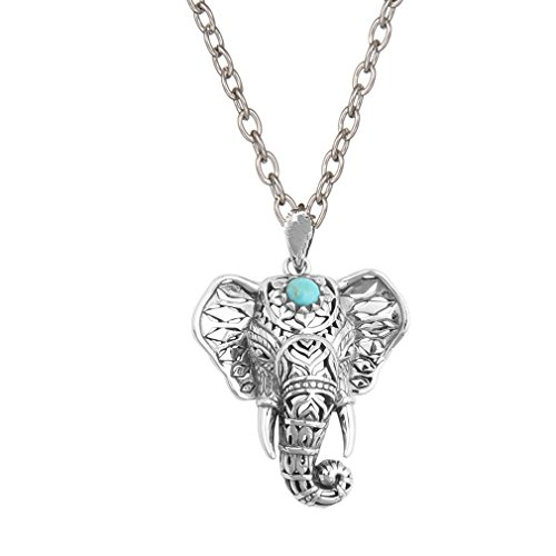 SUNSCSC Vintage Retro Boho Luckly Crystal Turquoise Elephant Pendant Necklace Enamel Earrings Set (Silver ()