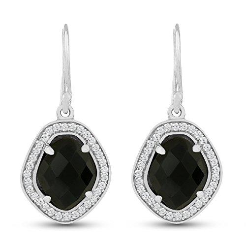 Black Onyx Dangle Earrings - .925 Sterling Silver Jewelry - Stellar Designs -