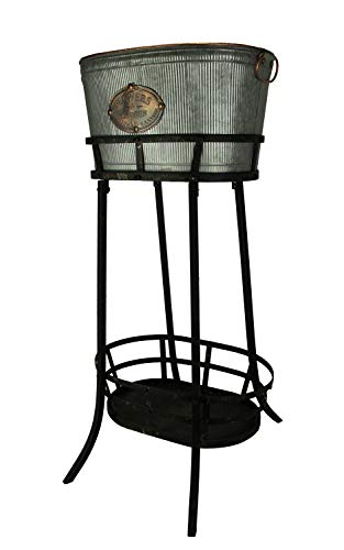 Antiqued Ribbed Metal Flowers and Garden Decorative Ice Tub On Stand ()