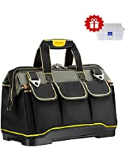 Tool Bag Upgraded with PVC Base Tool Storage Bag Multi-Functional Large Capacity Wearproof & Waterproof Tool Tote Bag for Electricians Carpenters