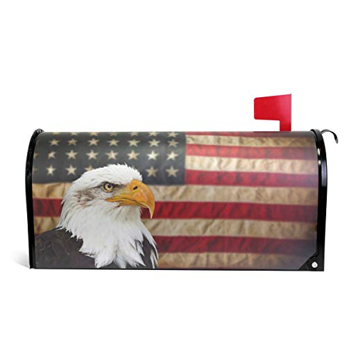 (Magnetic Large Mailbox Cover Bald Bird with American Flag, Oversized)