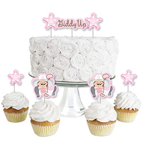 Little Cowgirl - Dessert Cupcake Toppers - Western Baby Shower or Birthday Party Clear Treat Picks - Set of 24]()