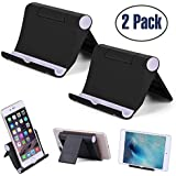 "Cell Phone Stand Multi-Angle,【2 Pack】 Tablet Stand Universal Smartphones for Holder Tablets(6-11""), e-Reader, Compatible iPhone X/8/8 Plus/7/7 Plus, Galaxy S8/S7/Note 8, Air, Mini, Pixel 2(Black)"