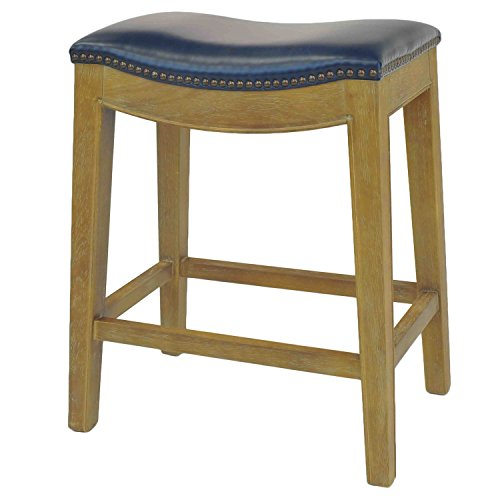 New Pacific Direct Elmo Bonded Leather Counter Stool,Weathered Smoke Legs,Vintage Blue,Fully (Bonded Leather Stool)
