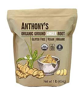 Anthony's Organic Ground Ginger Root, 1 lb, Gluten Free, Non GMO, Keto Friendly
