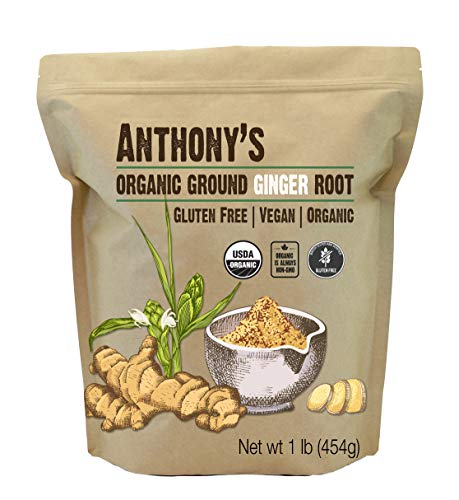 - Organic Ground Ginger Root (1 Pound) by Anthony's, Gluten-Free, Non-GMO