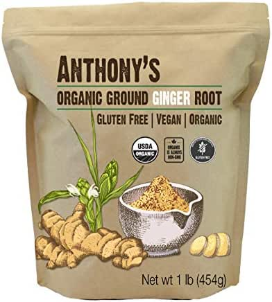 Anthony's Organic Ground Ginger Root, 1lb, Gluten Free, Non GMO, Keto Friendly